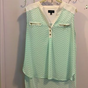 My Michelle tank top white and mint chevron